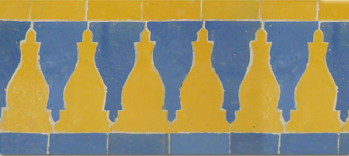Mosaic House Moroccan tile Sharafa S 18-2 Yellow Light Blue  zellige, mosaic, zellij, border, glaze, classic, traditional