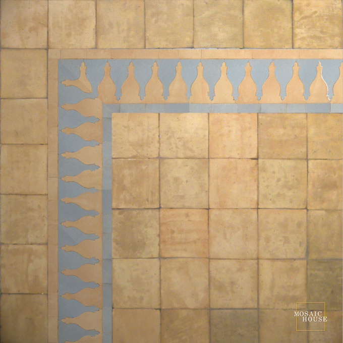 Mosaic House Moroccan tile Sharafa S 14-17 Natural, Unglazed, Terracotta Sky blue  zellige, mosaic, zellij, border, glaze