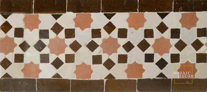 Mosaic House Moroccan tile Tarceeh 22-1-19 Light Pink White Brown  zellige, mosaic, zellij, border, glaze, traditional, intricate, stars