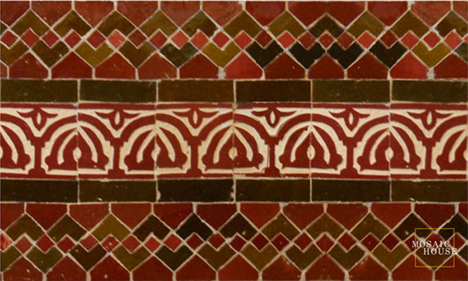 Mosaic House Moroccan tile Web Sarout 7-19 Red Brown  zellige, mosaic, zellij, border, glaze, chiseled