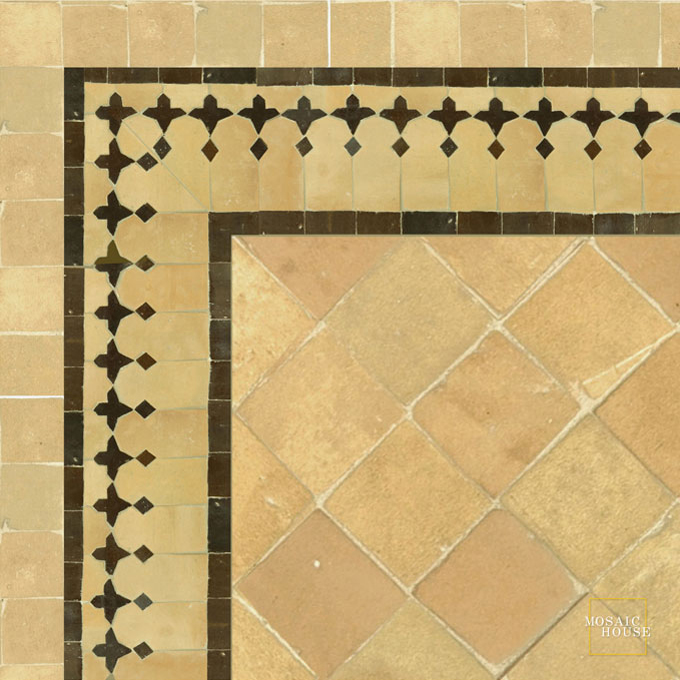 Mosaic House Moroccan tile Zanar 14-19 Natural, Unglazed, Terracotta Brown  zellige, mosaic, zellij, border, glaze