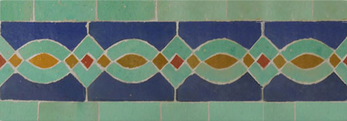 Mosaic House Moroccan tile Zitoune 15-12-8-7 Cobalt Blue Light Green Ochre Red  zellige, mosaic, zellij, border, glaze