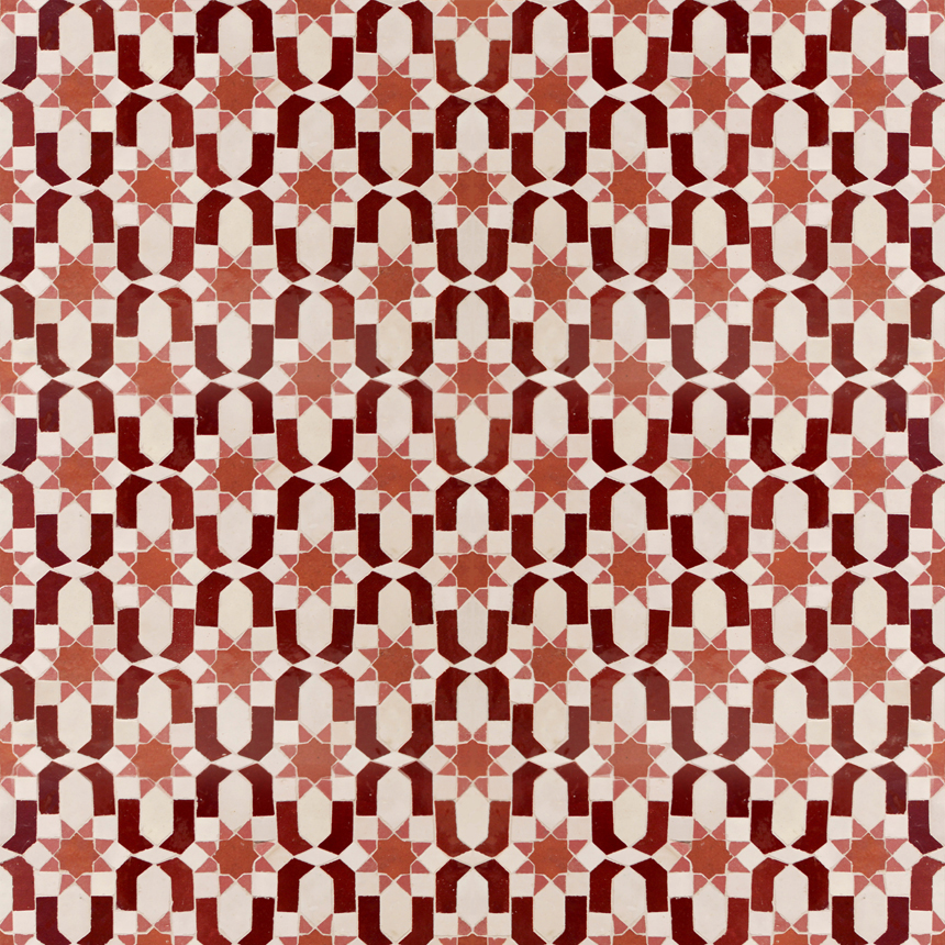 Mosaic House Moroccan tile Dazzle 1-7-4-22  White Red Rust Light Pink  zellige, mosaic, zellij, field, pattern, glaze