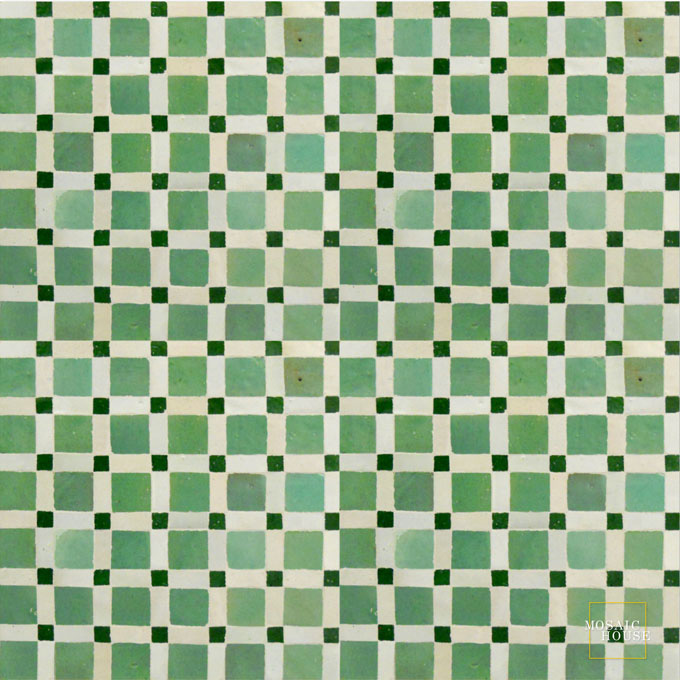 Mosaic House Moroccan tile Fes 12-1-10 Light Green White Green  zellige, mosaic, zellij, field, pattern, glaze, simple, classic