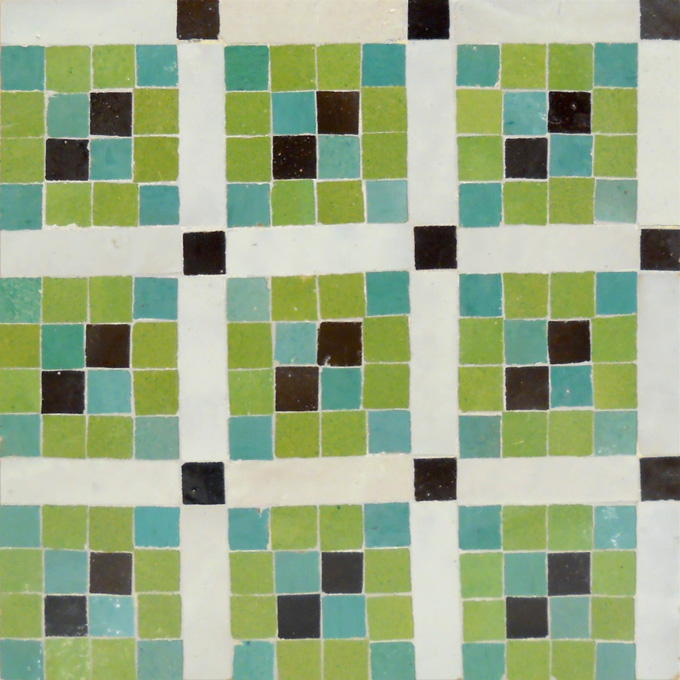Mosaic House Moroccan tile Irfan 5-12-1-6 Lime Green Light Green White Black  zellige, mosaic, zellij, field, pattern, glaze