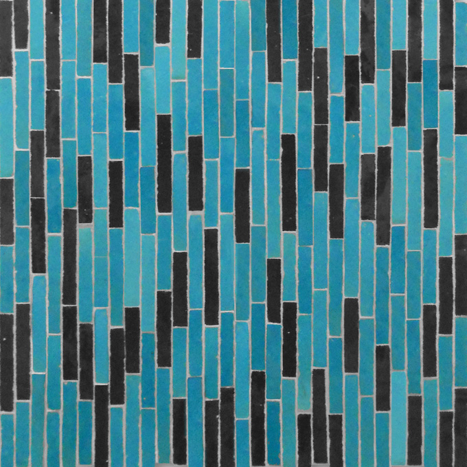 Mosaic House Moroccan tile Linear 23-6 Turquoise Black  zellige, mosaic, zellij, field, pattern, glaze, simple