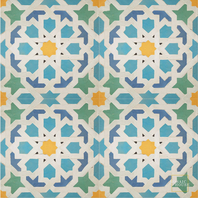 Mosaic House Moroccan tile Metam LG 13-1-18-2-12 Light Turquoise White Yellow Light Blue Light Green  zellige, mosaic, zellij, field, pattern, glaze, classic, stars, intricate