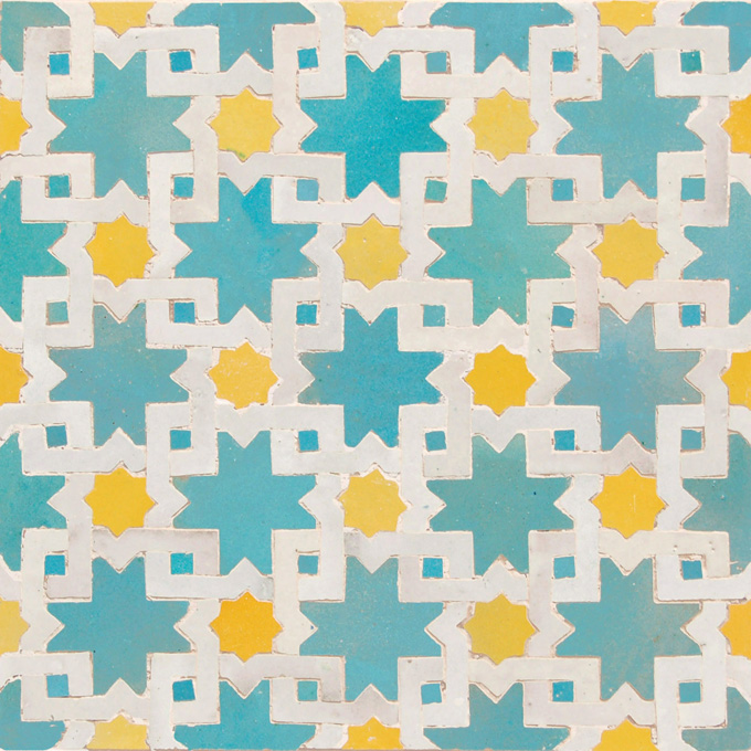 Mosaic House Moroccan tile Mogador 13-18-1 Light Turquoise Yellow White  zellige, mosaic, zellij, field, pattern, glaze, classic, stars, intricate