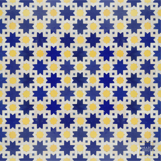 Mosaic House Moroccan tile Mogador 15-18-1 Cobalt Blue Yellow White  zellige, mosaic, zellij, field, pattern, glaze, classic, stars, intricate