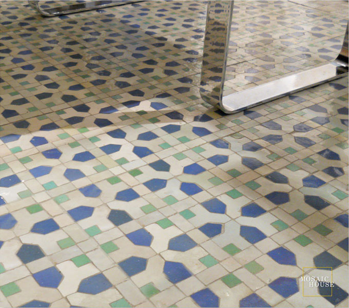 Mosaic House Moroccan tile Nejarine 2-1-12 Light Blue White Light Green  zellige, mosaic, zellij, field, pattern, glaze