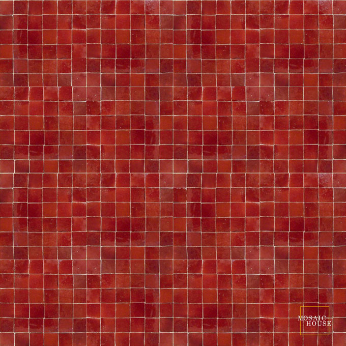 Mosaic House Moroccan tile Rceef 7 Red  solid zellige, mosaic, zellij, field, pattern, glaze, simple, classic, grid, squares