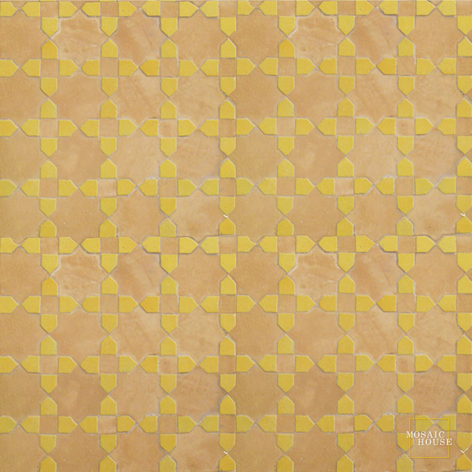 Mosaic House Moroccan tile Tanger C 14-18 Natural, Unglazed, Terracotta Yellow  zellige, mosaic, zellij, field, pattern, glaze, stars, classic