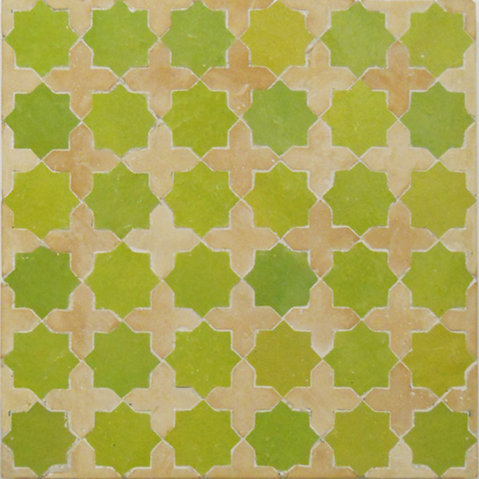 Mosaic House Moroccan tile Tanger S 5-14 Lime Green Natural, Unglazed, Terracotta  zellige, mosaic, zellij, field, pattern, glaze, stars, classic