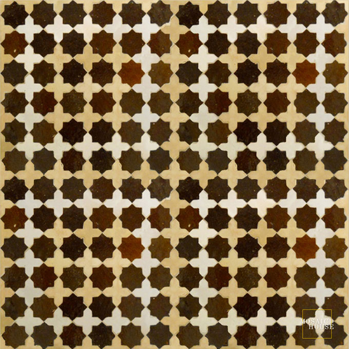 Mosaic House Moroccan tile Tanger S SQ 19-14-1 Brown Natural, Unglazed, Terracotta White  zellige, mosaic, zellij, field, pattern, glaze