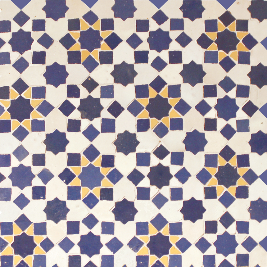Mosaic House Moroccan tile Tarceeh 1-15-18 White Cobalt Blue Yellow  zellige, mosaic, zellij, field, pattern, glaze, stars, intricate, classic, traditional