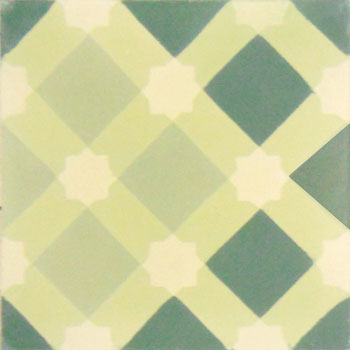 Mosaic House Moroccan tile Anemone C44-35-27-3 Linen, gray Mint, green Green Cream, white  cement, encaustic, field, pattern